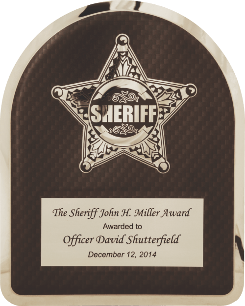 "MA4503 - 10 1/2"" x 13"" Sherrif's Department Badge on Black Background Hero Plaque Sheriff Hero Plaque with Chrome Star"