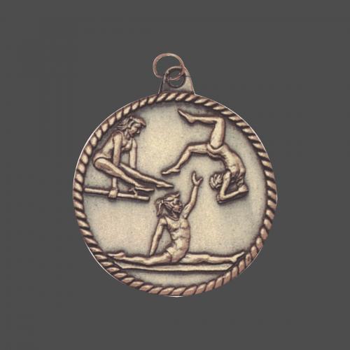 """2"""" Female Gymnastics High Relief Medal"""