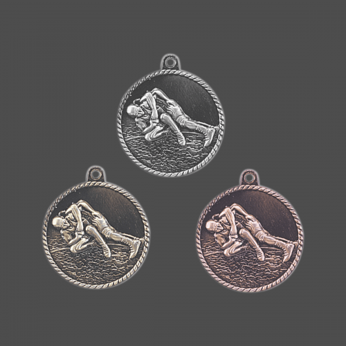 "2"" Wrestling High Relief Medal"