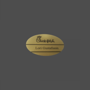 "2"" x 3"" Oval Gold Brass with Black Dye-Etch Name Badge"
