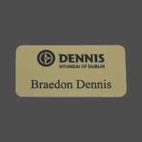 "1 1/2"" x 3"" Gold Satin Metal Name Badge"