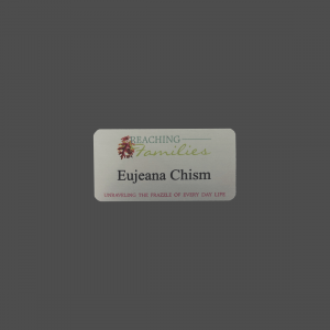 "1 1/2"" x 3"" Silver Metal Full Color Process Name Badge"