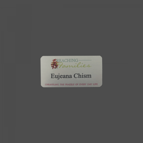 "1 1/2"" x 3"" Silver Metal Full Color Process Name Badge"