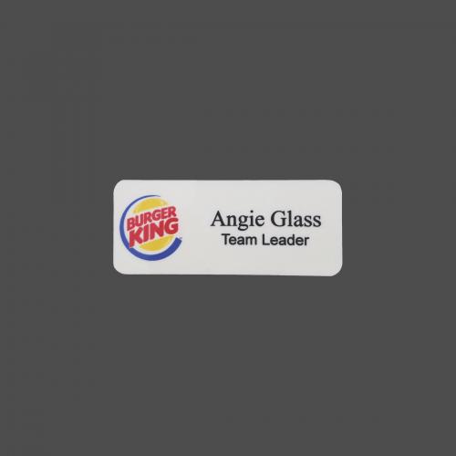"1 1/4"" x 3"" White Plastic 4-Color Process Name Badge"