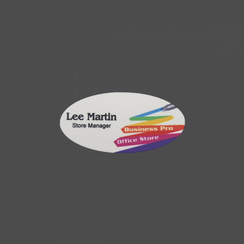 "1 1/2"" x 3"" 4-Color Process Oval-shaped Name Badge"