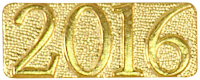 Gold 2016 Metal Chenille Letter Insignia