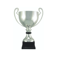 """18 1/2"""" Silver plated Italian trophy cup with wood accent"""