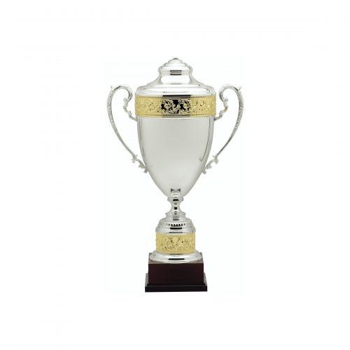 """25 1/2"""" Silver with Gold Accent Trophy Cup"""