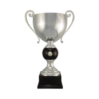 """22 3/4"""" Silver plated Italian trophy cup with coin inset"""