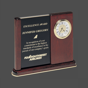 """6 3/4"""" x 8 1/2"""" Rosewood Upright Clock with 2 Engravable Plates"""