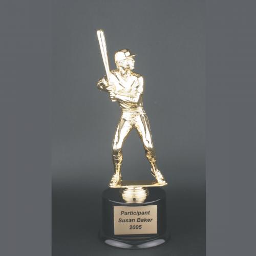 "11"" Male Baseball Gold Plastic Trophy"