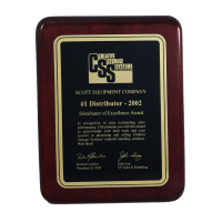 """7"""" x 9"""" Rosewood Piano-Finish Plaque with Elliptical Edge & Black Plate (1 Day Rush)"""
