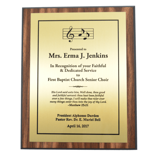 "8"" x 10"" Walnut Finish Plaque with Gold Plate (1 Day Rush)"