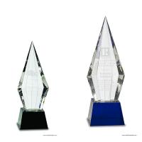 Obelisk Facet Crystal on Black or Blue Pedestal Base