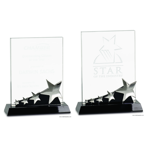 Rectangle Crystal with Silver Stars on Black Pedestal Base