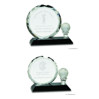 Round Facet Crystal with Golf Ball on Black Pedestal Base