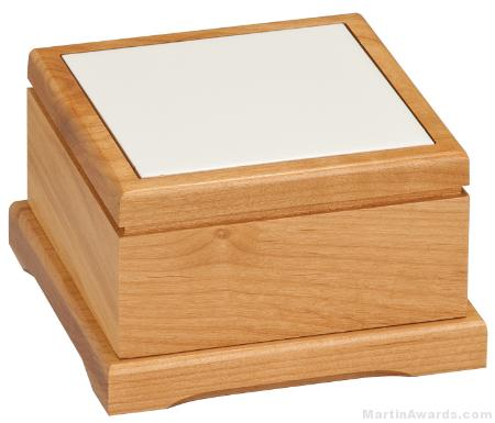 5 x 5 Red Alder Pet Urn with Routed Top
