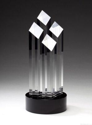 Four Tall Crystal Slant Towers Award