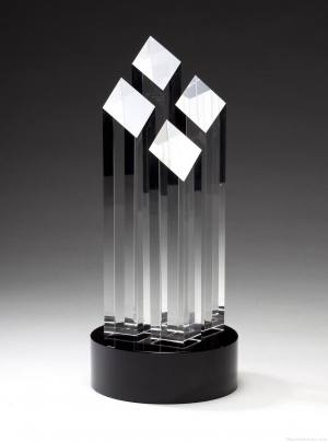 Four Tall Crystal Slant Towers Award