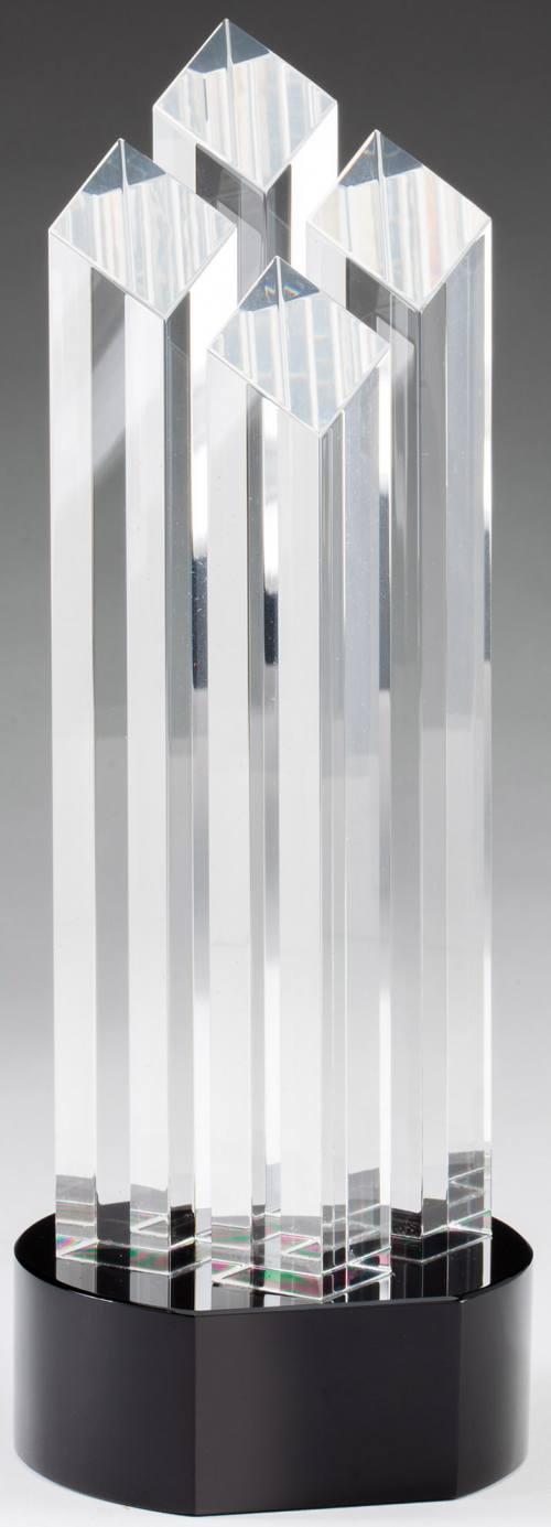 Four column glass transparent award