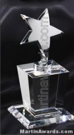 "Crystal Glass Awards - 4"" x 8"" Genuine Prism Optical With Base"