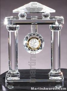 "Crystal Glass Awards - 8 1/2"" x 12 1/2"" Genuine Prism Optical Crystal Clock"