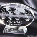 Crystal Glass Awards – 5″ x 6 1/2″ Genuine Prism Optical Crystal With Base 1