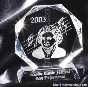"Crystal Glass Awards - 5"" x 6"" Genuine Prism Optical Crystal"