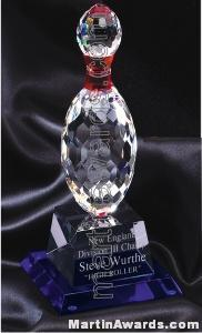 "4 1/4"" x 10"" Bowling Pin Prism Optical Crystal Glass With Indigo Blue Sub Base"