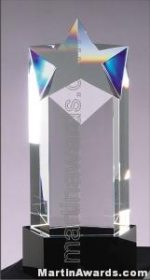 "3 1/2"" x 8 1/4"" Genuine Prism Optical Crystal With Black Base Glass Awards"