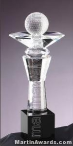 "5 1/4"" x 13"" Genuine Prism Optical Crystal Glass Awards With Black Base"