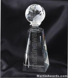 "2 3/4"" x 7 3/4"" Genuine Prism Optical Crystal Glass Awards Globe With Base"