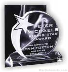 """6"""" x 6 3/4"""" Genuine Prism Optical Crystal Glass Awards Shooting Star With Base"""