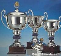 Trophy Cups, Silver Plated, On Mahogany Base- Lid Not Included