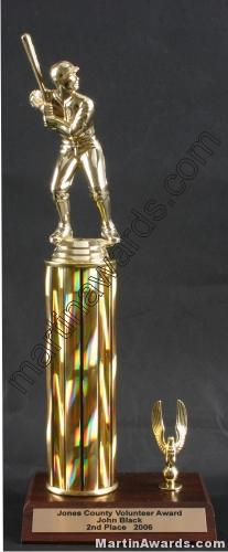 Gold Single Column Male Baseball/Softball With 1 Eagle Trophy 1