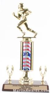 Red/White/Blue Single Column Football With 2 Eagles Trophy