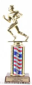 Red/White/Blue Single Column Football Trophy