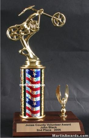 Red/White/Blue Single Column Chopper Motorcycle With 1 Eagle Trophy