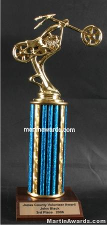 Blue Single Column Chopper Motorcycle Trophy