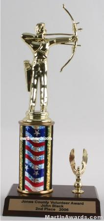 Red/White/Blue Single Column Male Archer With 1 Eagle Trophy