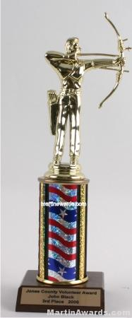 Red/White/Blue Single Column Male Archer Trophy