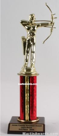 Red Single Column Male Archer Trophy