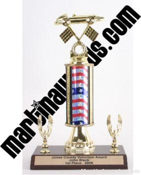 Red/White/Blue Single Column Pinewood Derby Car With 2 Eagles Trophy