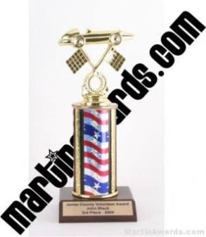 Red/White/Blue Single Column Pinewood Derby Car Trophy