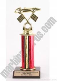 Red Single Column Pinewood Derby Car Trophy