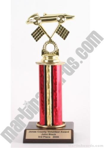 Red Single Column Pinewood Derby Car Trophy 1