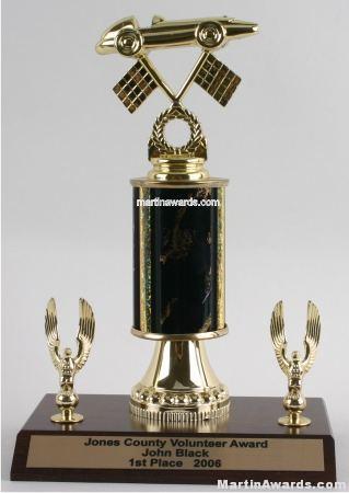 Black Single Column Pinewood Derby Car With 2 Eagles Trophy