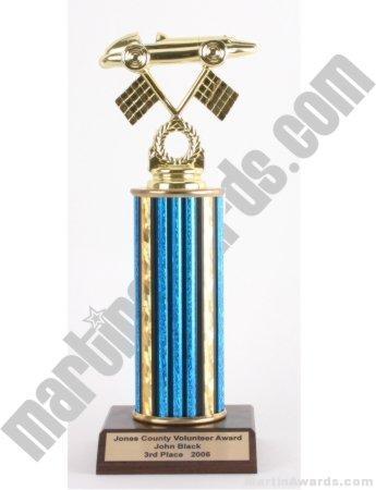 Blue Single Column Pinewood Derby Car Trophy