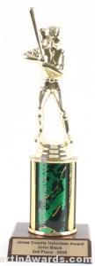Green Single Column Female Softball Trophy