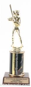 Black Single Column Female Softball Trophy 1